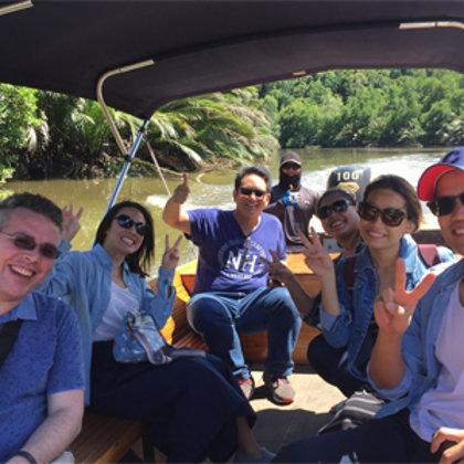 Enjoying time with new friends on the river
