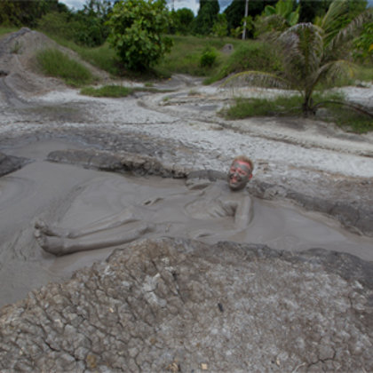 Relaxing on a natural mud spa adventure