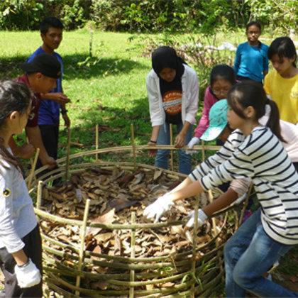 School classes understanding how to make compost