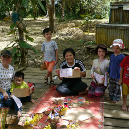 Treasure hunt activity group with local and guest kids